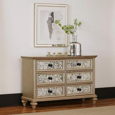Visions 6-Drawer Silver Gold Champagne Finish Dresser