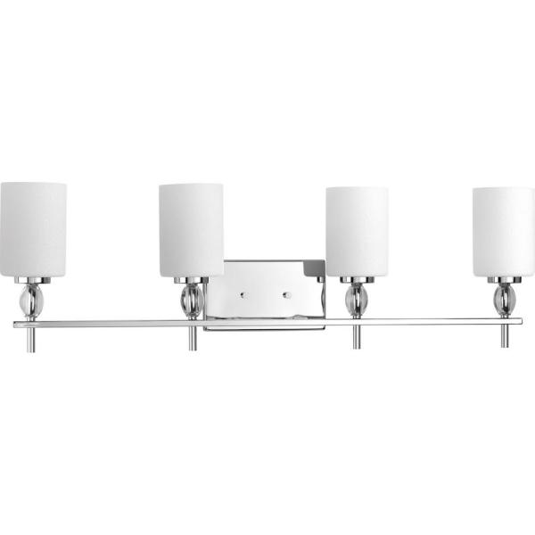 Status Collection 4-Light Polished Chrome Bathroom Vanity Light with Etched Linen Glass