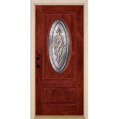 37.5 in. x 81.625 in. Silverdale Brass 3/4 Oval Lite Stained Cherry Mahogany Right-Hand Fiberglass Prehung Front Door