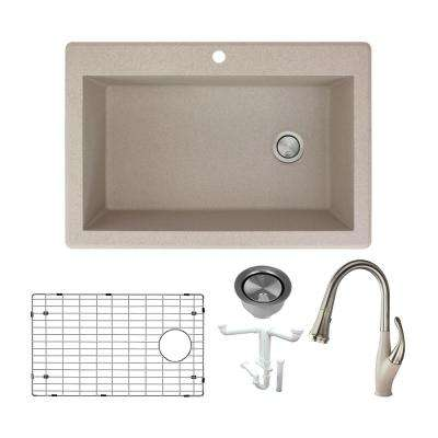 Radius All-in-One Drop-in Granite 33 in. 1-Hole Single Bowl Kitchen Sink with Faucet in Cafe Latte
