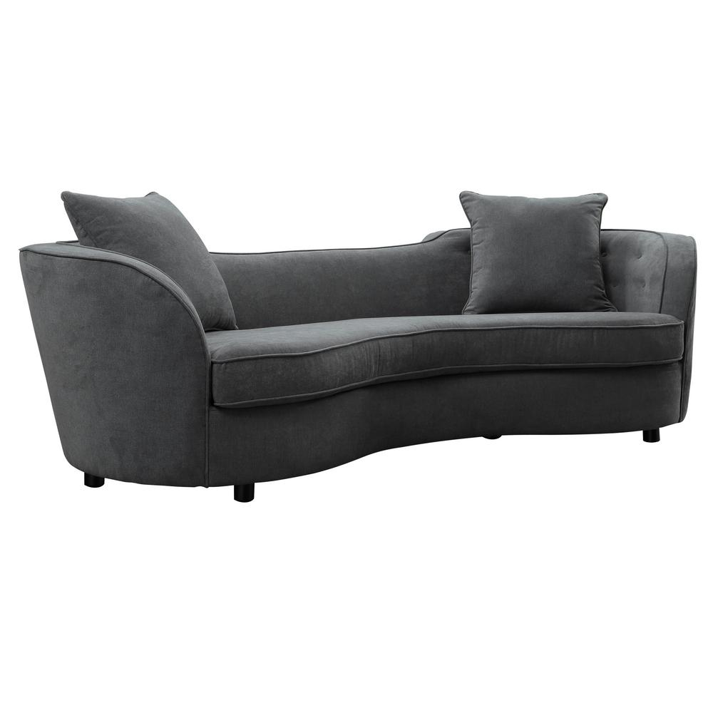 Armen Living Grey Velvet Contemporary Sofa with Brown Wood Legs