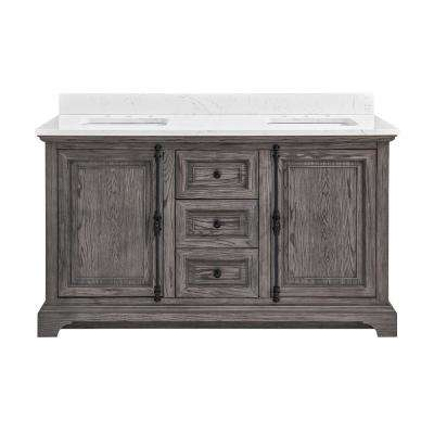 60 in. W x 22 in. D Double Vanity in Cashmere with Engineered Vanity Top in Carrara with White Basin