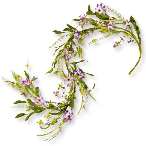 National Tree Company 60 in. Purple Flower Garland RAS-6005G-1
