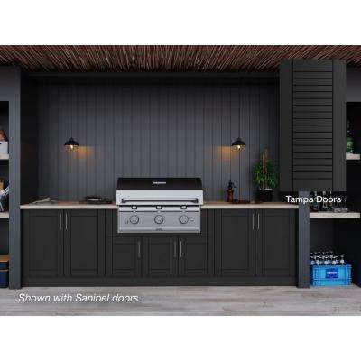 Tampa Pitch Black 17-Piece 121.25 in. x 34.5 in. x 28 in. Outdoor Kitchen Cabinet Set