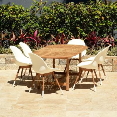 Carilo 7-Piece Teak Oval Patio Dining Set