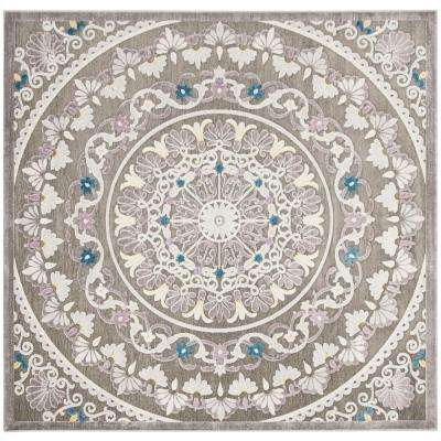 Paradise Gray/Light Gray 6 ft. 7 in. x 6 ft. 7 in. Square Area Rug