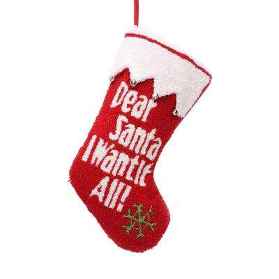 19 in. Polyester/Acrylic Hooked Christmas Stocking with Dear Santa I Want It All