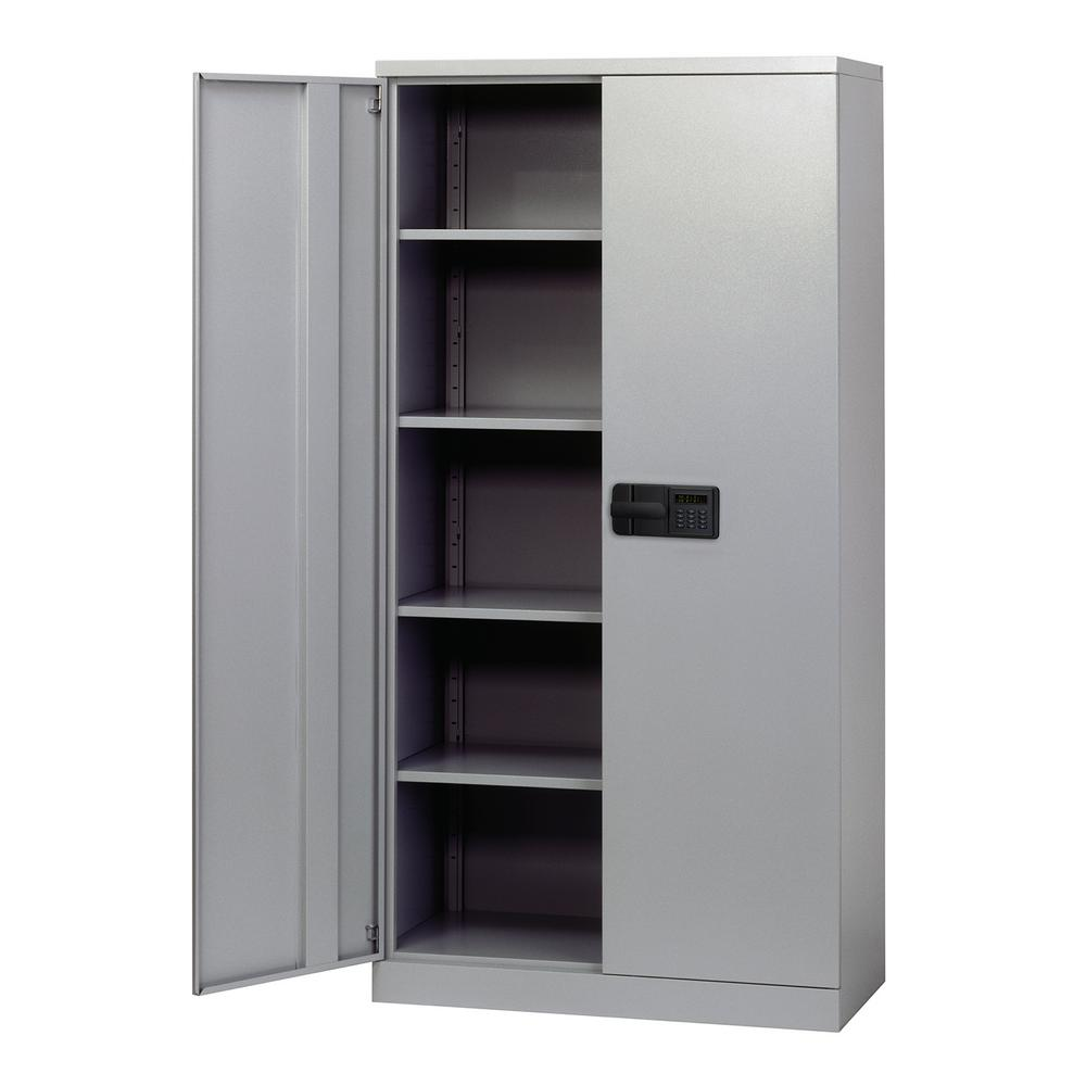 Sandusky 72 in. H x 36 in. W x 18 in. D 5-Shelf Steel Quick Assembly Keyless Electronic Coded Storage Cabinet in Dove Gray