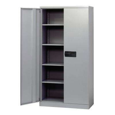 72 in. H x 36 in. W x 18 in. D 5-Shelf Steel Quick Assembly Keyless Electronic Coded Storage Cabinet in Dove Gray