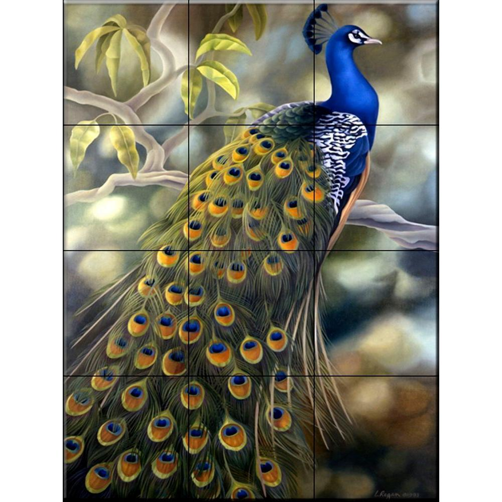 The Tile Mural Store Peacock 18 In. X 24 In. Ceramic Mural Wall Tile Part 39