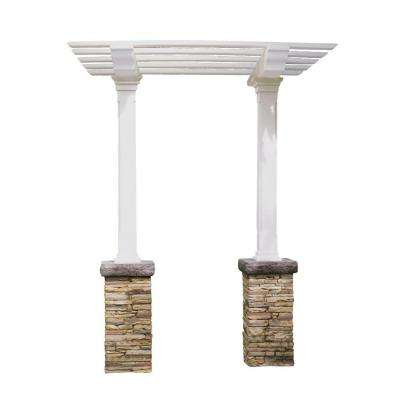 Heritage 103 in. x 36 in. Stacked Stone Beige Single Beam Maintenance-Free Arbor
