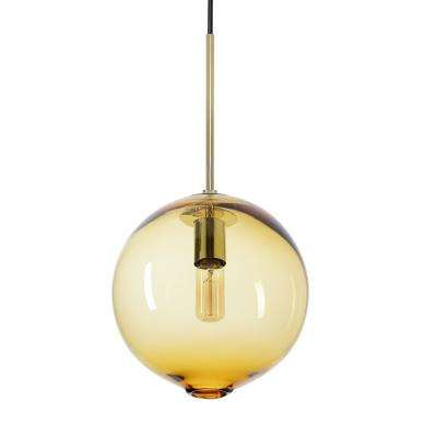 Zurich 10 in. W x 19 in. H 1-Light Brass Hand Blown Glass Pendant Light with Amber Glass Shade