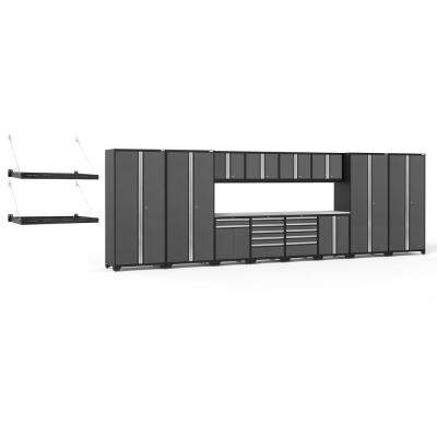 Pro Series 256 in. W x 85.25 in. H x 24 in. D 18-Gauge Steel Cabinet Set in Gray (16-Piece)