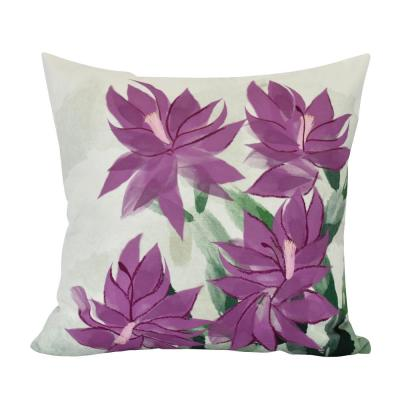 Christmas Cactus Purple Floral 20 in. x 20 in. Throw Pillow
