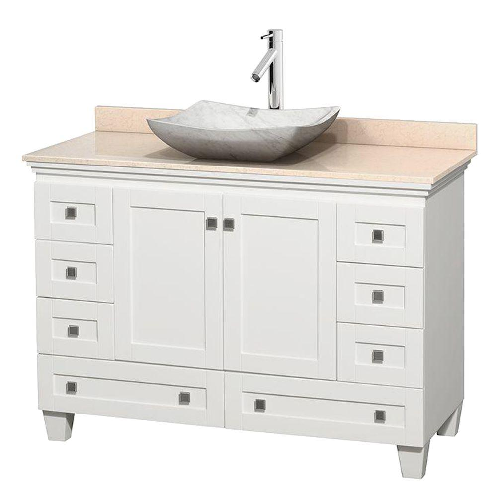 Wyndham Collection Acclaim 48 in. W Vanity in White with Marble Vanity Top in Ivory and White Carrara Marble Sink