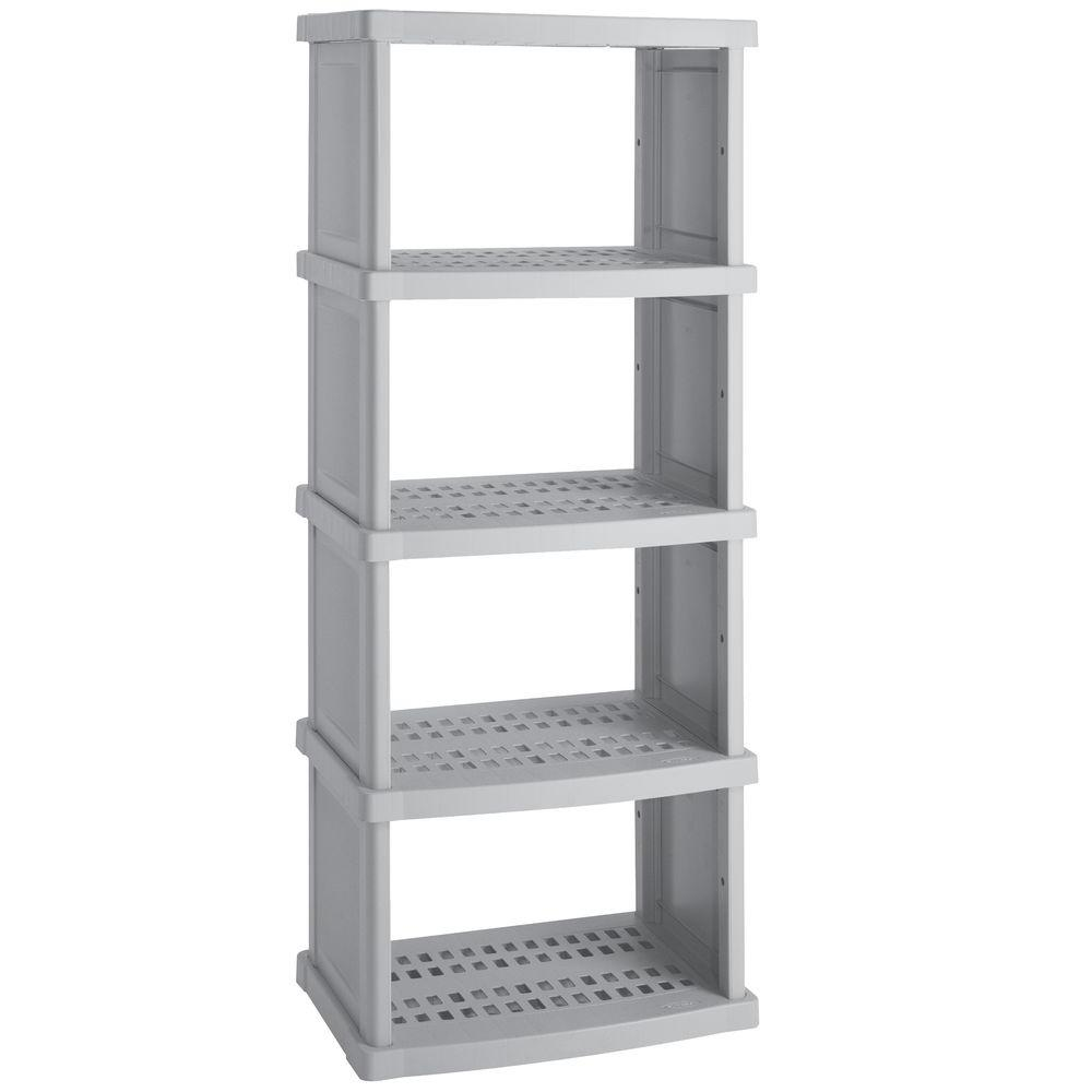 Suncast 5-Shelf 30 in. W x 72 in. H x 20 in. D Plastic Shelving Unit