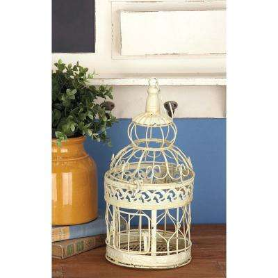 Distressed White Cylindrical Metal Birdcages (3-pack)