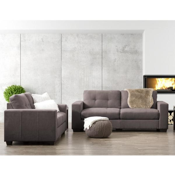 CorLiving Club 2-Piece Tufted Grey Chenille Fabric Sofa Set LZY-131 ...