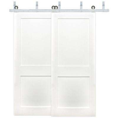 72 in. x 80 in. Bypass Shaker 2-Panel Solid Core Prime Pine Wood Barn Door w/ Stainless Steel Sliding Door Hardware Kit