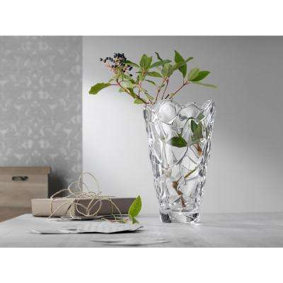 Petals 11 in. Crystal Decorative Round Vase in Clear
