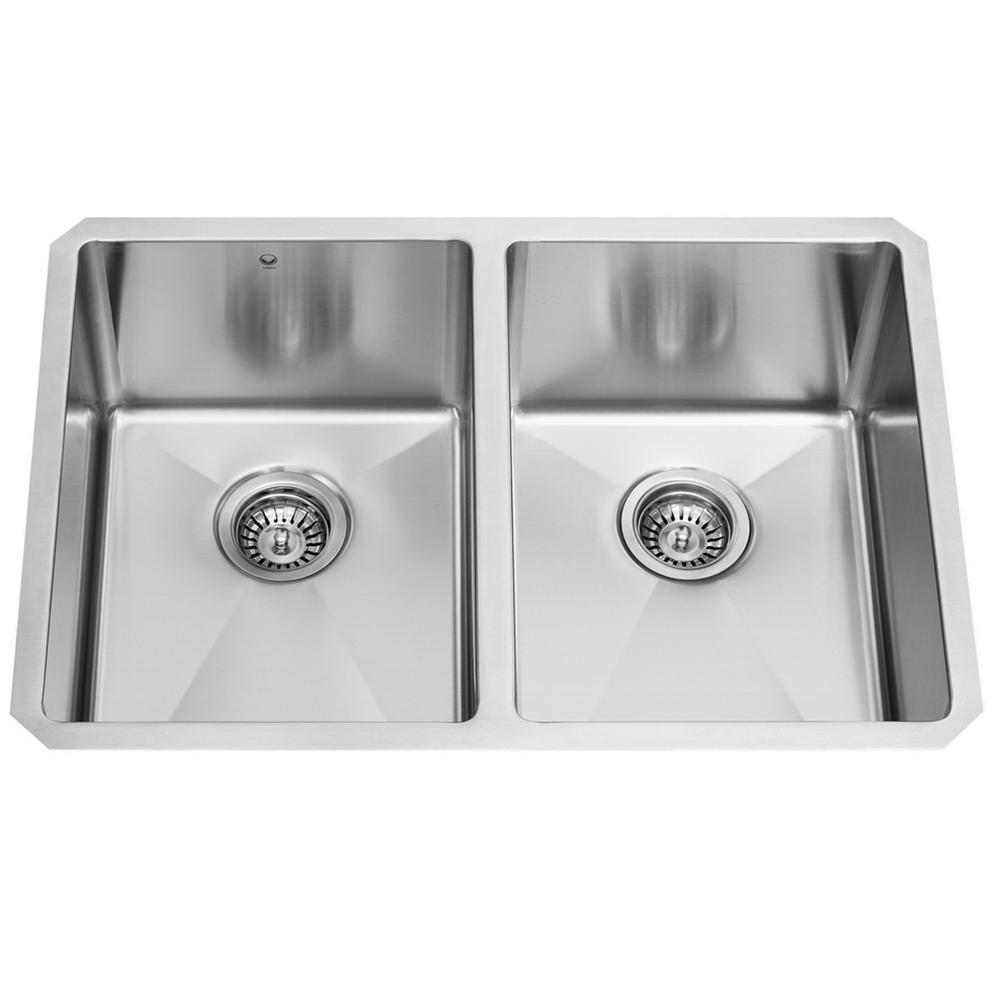 VIGO Undermount Stainless Steel 29 in. Double Basin Kitchen Sink