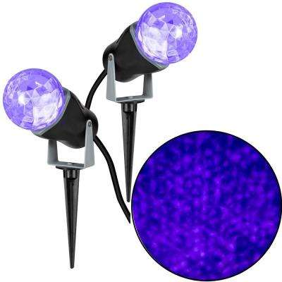 10.24 in. Projection Kaleidoscope LED Purple Light Stake (2-Pack)