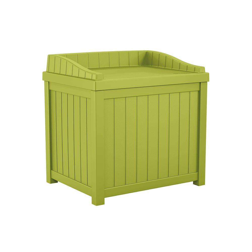 Green Small Storage Seat Deck Box  sc 1 st  Home Depot & Suncast 22 Gal. Green Small Storage Seat Deck Box-SS1000GD - The ...