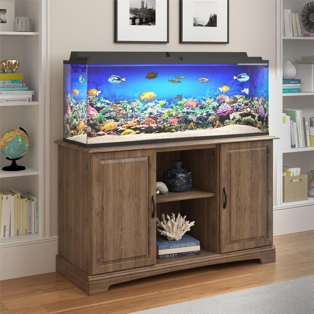Ameriwood Seagull Rustic Oak 50 Gal 75 Gal Aquarium Stand Hd04241 The Home Depot