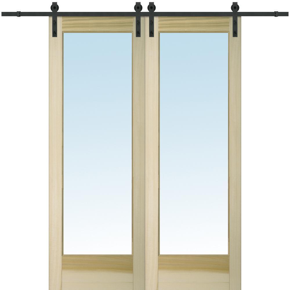 Mmi Door 60 In X 96 In Clear 1 Lite Unfinished Poplar Double Barn