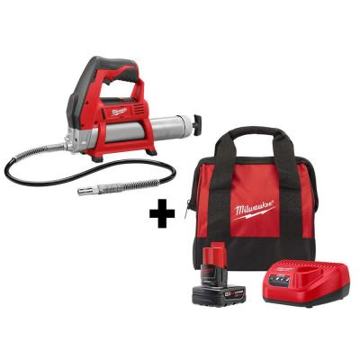 Milwaukee M12 12V Cordless Grease Gun Kit with 4Ah Battery & Charger