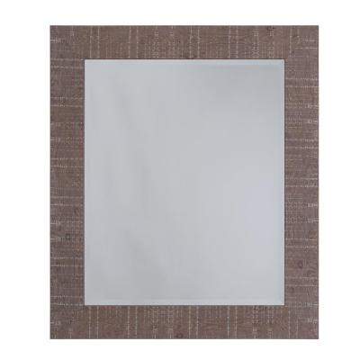 Medium Rectangle Shallow Brown Texture Beveled Glass Casual Mirror (27 in. H x 23 in. W)