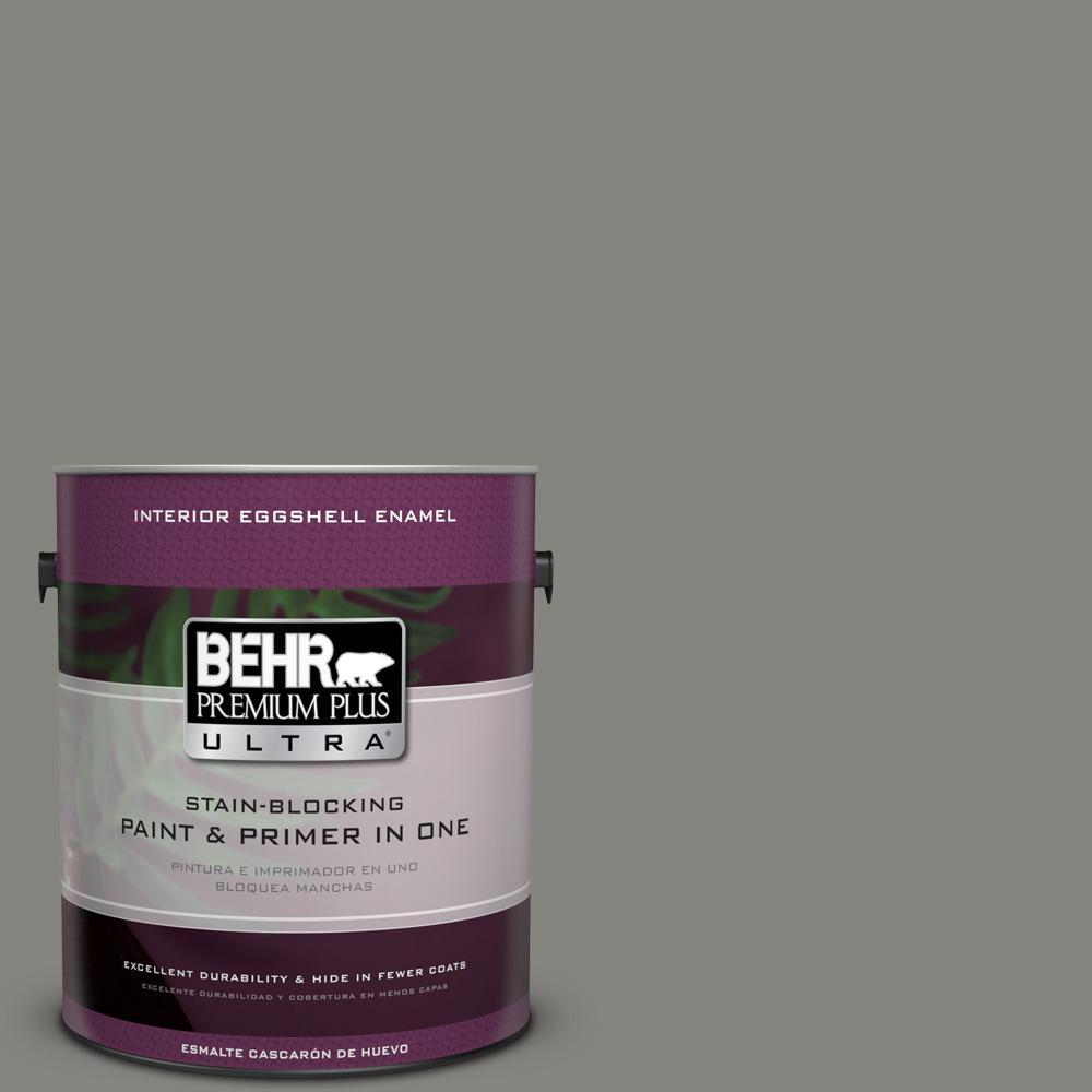 1 gal. #PPU24-07 Barnwood Gray Eggshell Enamel Interior Paint