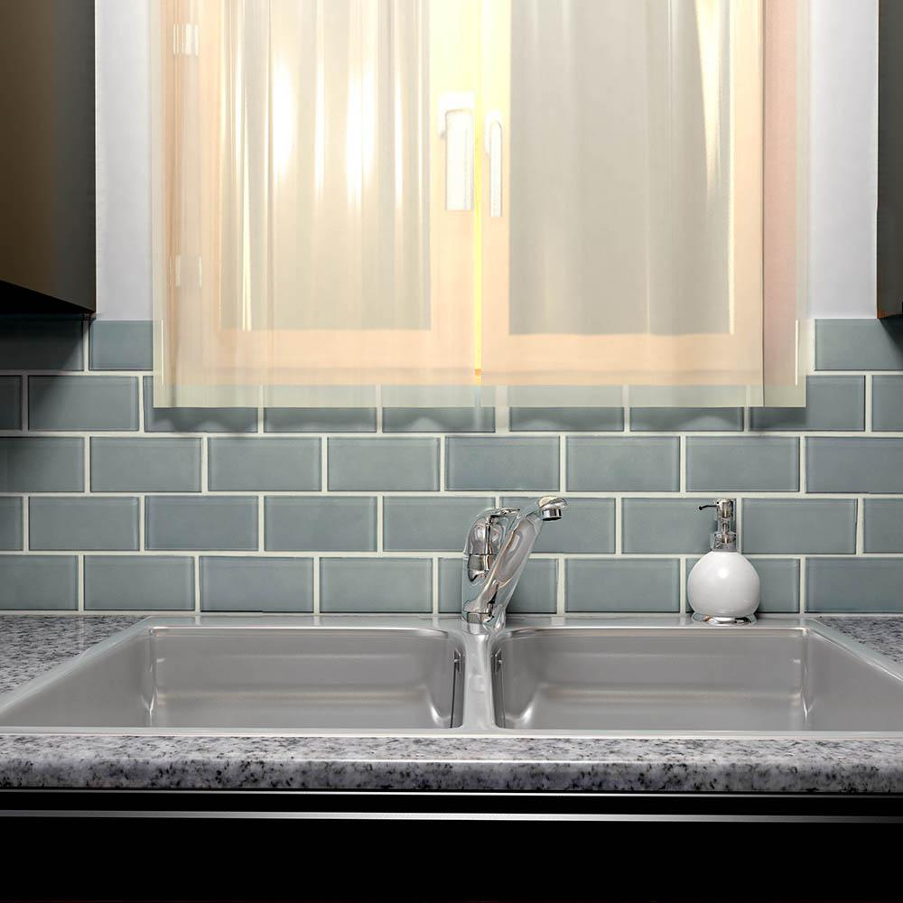 - Merola Tile Take Home Sample - Tessera Subway Blue Smoke 6 In X 3