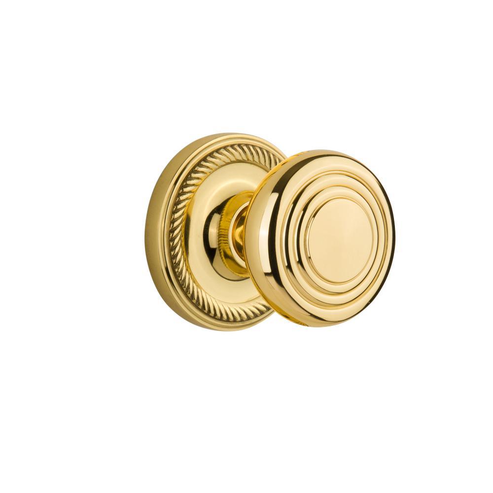Rope Rosette 2-3/8 in. Backset Polished Brass Passage Deco Door Knob