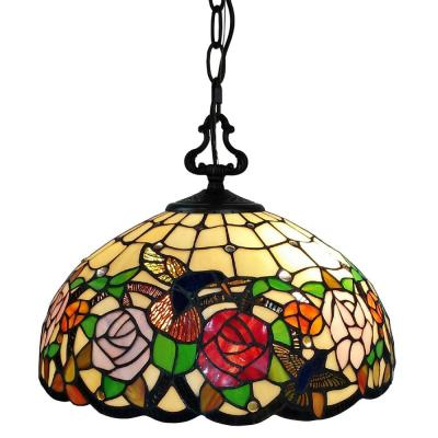 2-Light Tiffany Style Hummingbirds Floral Hanging Pendant with Glass Shade
