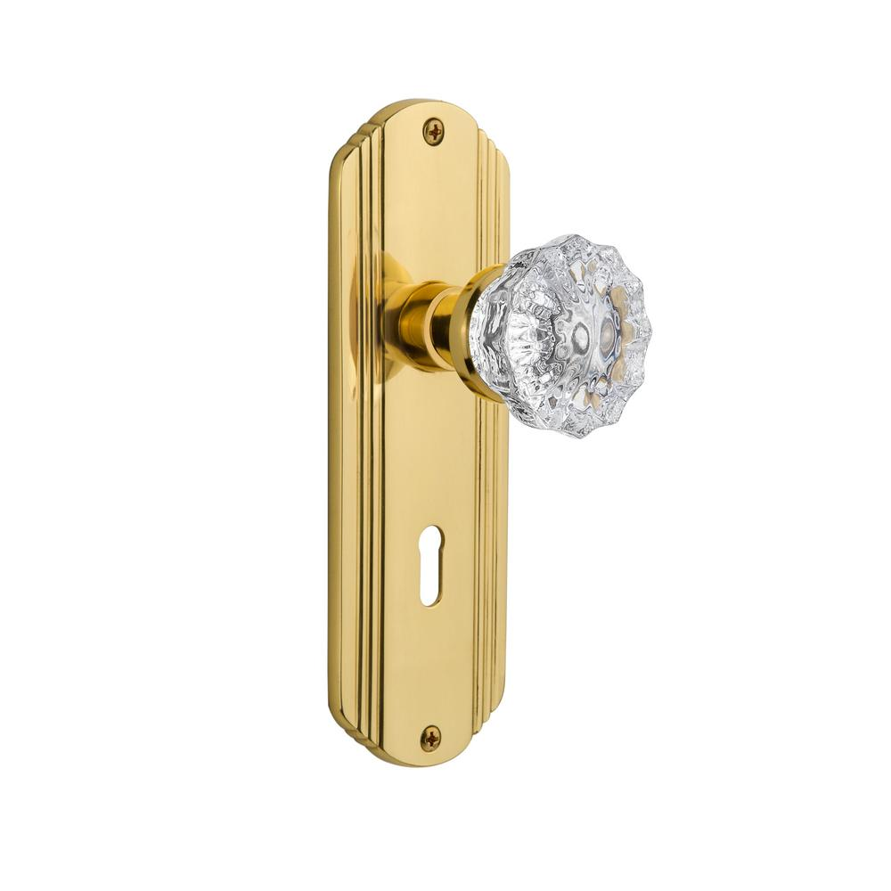Deco Plate with Keyhole Single Dummy Crystal Glass Door Knob in Polished Brass