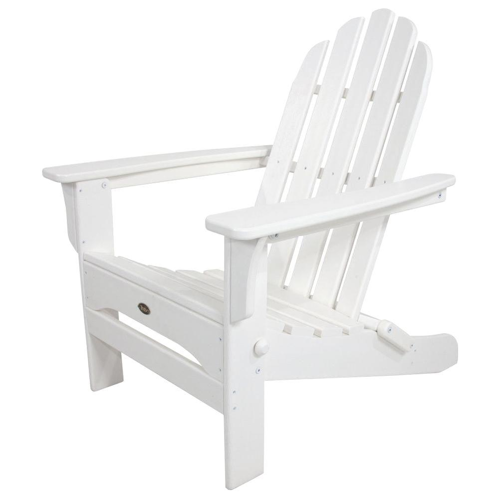 Trex outdoor furniture cape cod classic white folding plastic adirondack chair txa53cw the Cw home depot furnitures
