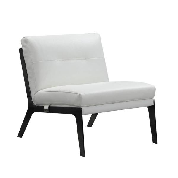 Charlie White Leather Accent Chair