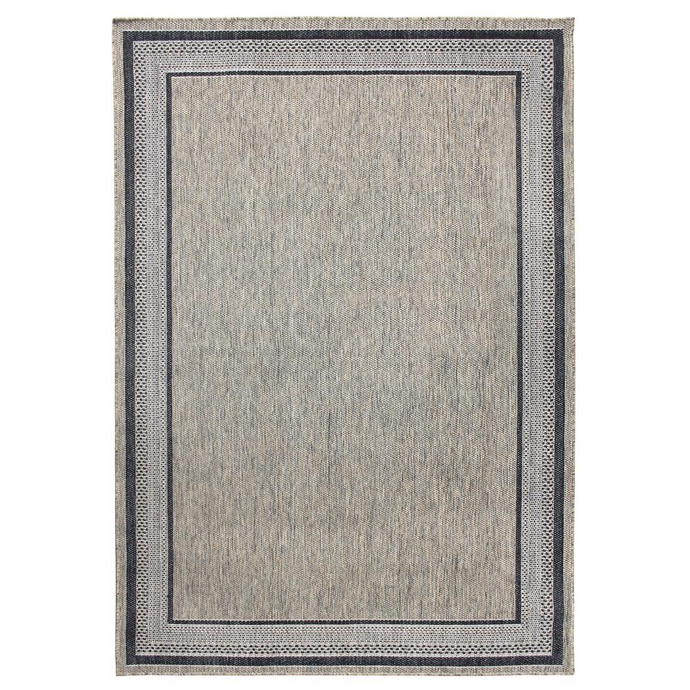 Border Gray Flat Woven Weave 5 ft. x 7 ft. Indoor/Outdoor Area Rug