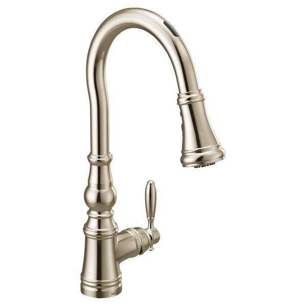 U by Moen Weymouth Single-Handle Pull-Down Sprayer Smart Kitchen Faucet with Voice Control in Polished Nickel