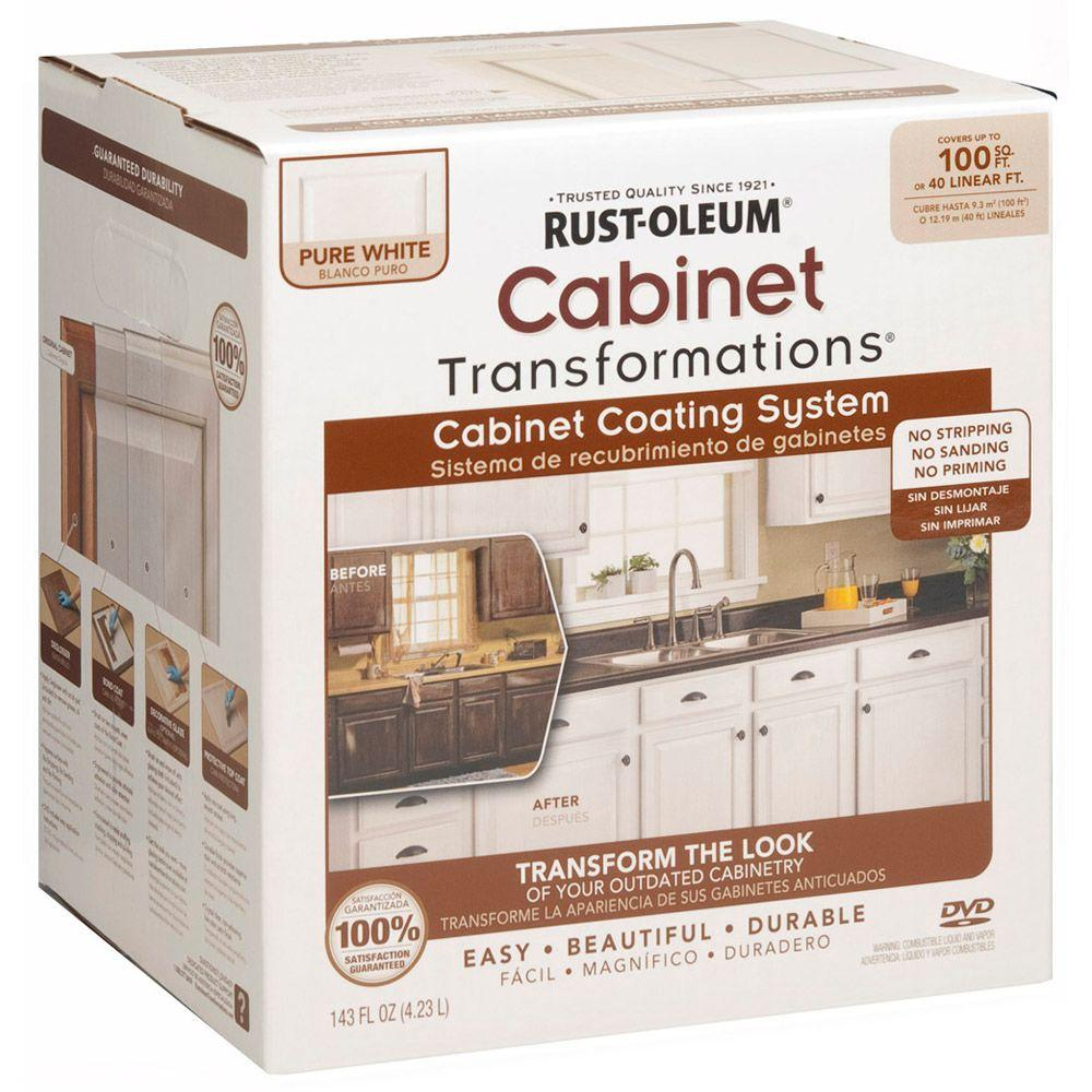 Rust oleum transformations 1 qt pure white cabinet small for Spraying kitchen cabinets white