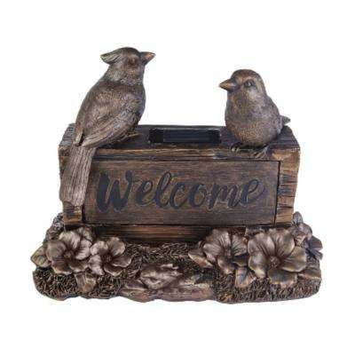 7 in. Solar Welcome Birds Sign