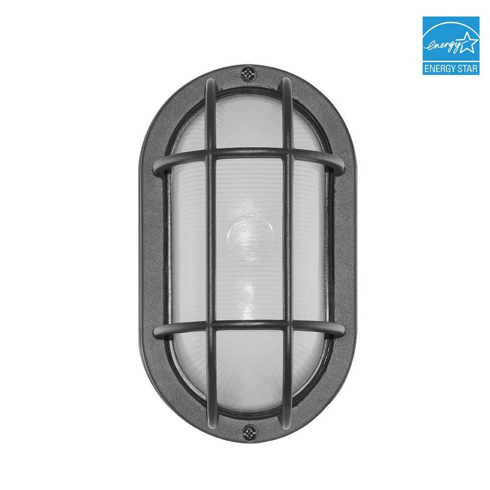 Black Outdoor Integrated LED Bulkhead Wall Light