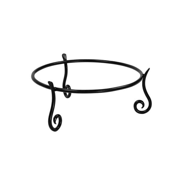 14.75 in. Dia Black Powder Coat Short Ring Stand II for Planter Birdbath Gazing Ball
