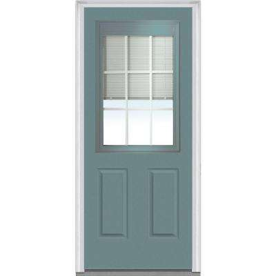 32 in. x 80 in. Internal Blinds and Grilles Right-Hand 1/2 Lite 2-Panel Classic Painted Steel Prehung Front Door
