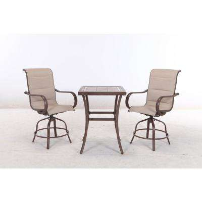 Sun Valley 3-Piece Aluminum Square Outdoor Bar Height Bistro Set