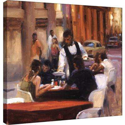 15.in x 15.in ''Cuban Street Cafe'' Printed Canvas Wall Art