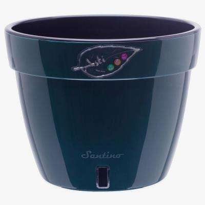 Asti 7.9 in. Green/Black Plastic Self Watering Planter