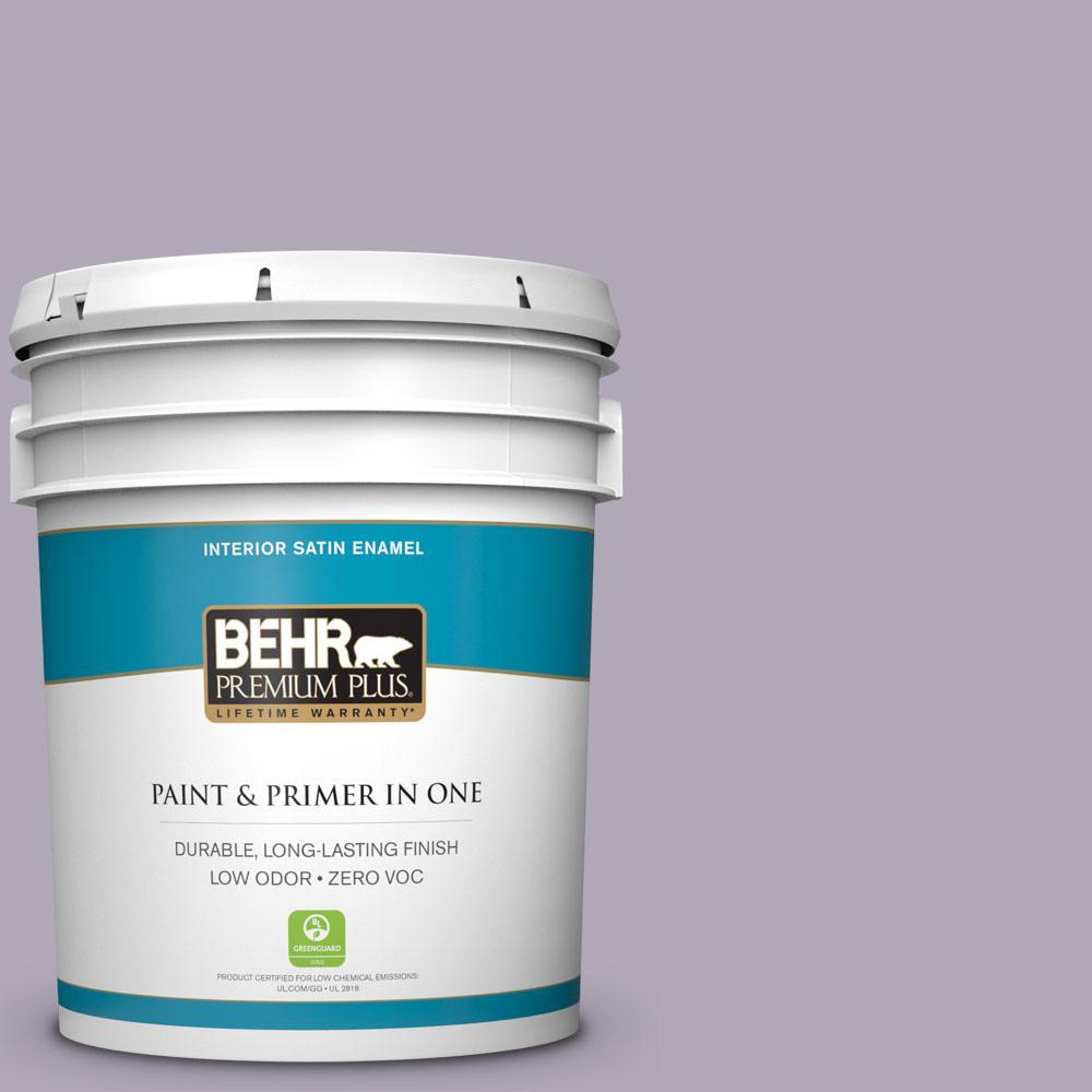 5-gal. #660F-4 Plum Frost Zero VOC Satin Enamel Interior Paint