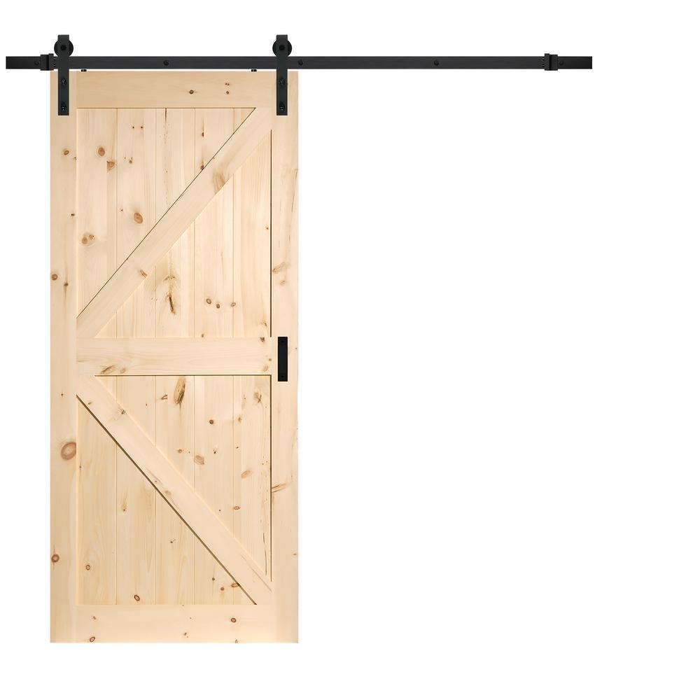 Truporte 36 In X 84 In Pine K Design Rustic Sliding Barn Door With Modern Hardware Kit Bd052b01pn1pne36084 The Home Depot